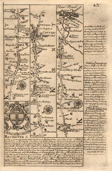 Associate Product Sittingbourne-Canterbury-Bishopsbourne-Lydden-Dover OWEN/BOWEN road map 1753