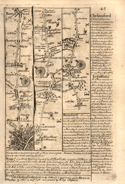 Associate Product London-Stratford-Romford-Brentwood-Chelmsford OWEN/BOWEN road map 1753 old