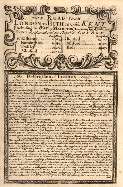 Associate Product The Road from London to Hith in com. Kent. The Description of London cont'd 1753