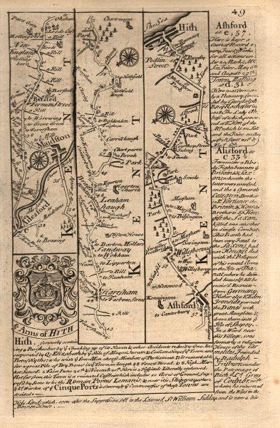 Associate Product Aylesford-Maidstone-Harrietsham-Ashford-Hythe road map by OWEN & BOWEN 1753