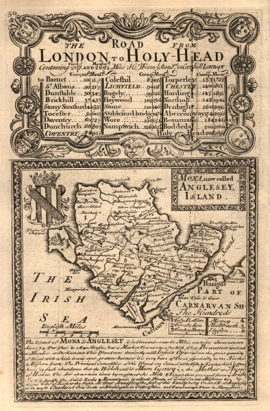 Associate Product 'Mona, now called Anglesey, Island.'. County map by J. OWEN & E. BOWEN 1753