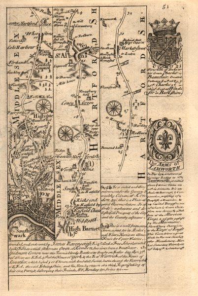 Associate Product London-Holloway-High Barnet-St Albans-Redbourn road map by OWEN & BOWEN 1753