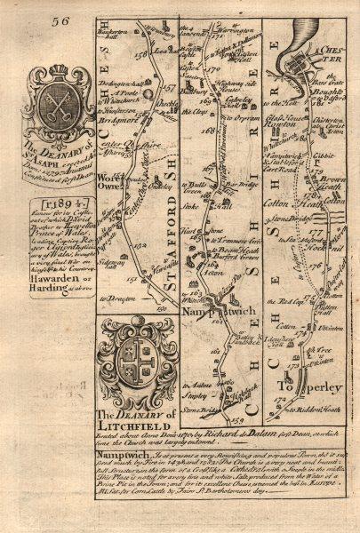Associate Product Woore-Nantwich-Tarporley-Chester road strip map by J. OWEN & E. BOWEN 1753