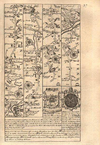 Associate Product Chester-Hawarden-Northop Hall-Denbigh-Conwy road map by OWEN & BOWEN 1753