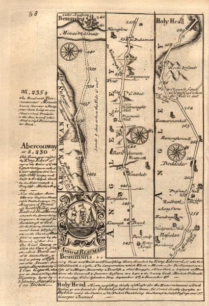 Associate Product Beaumaris-Holyhead road strip map by J. OWEN & E. BOWEN 1753 old antique