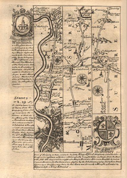 Associate Product London-Kensington-Hammersmith-Brentford-Hounslow-Egham-Bagshot BOWEN map 1753