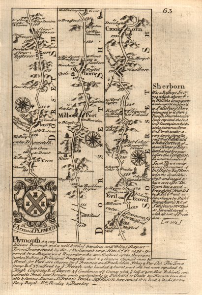 Associate Product Shaftesbury-Milborne Port-Sherborne-Yeovil-Crewkerne OWEN/BOWEN road map 1753