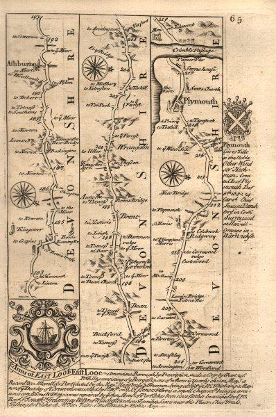 Ashburton-Dean-Plymouth road strip map by J. OWEN & E. BOWEN 1753 old