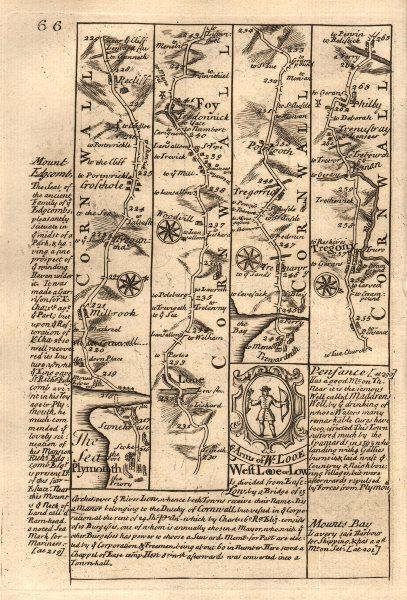 Associate Product Millbrook-Looe-Fowey-Tywardreath-Tregony road map by J. OWEN & E. BOWEN 1753
