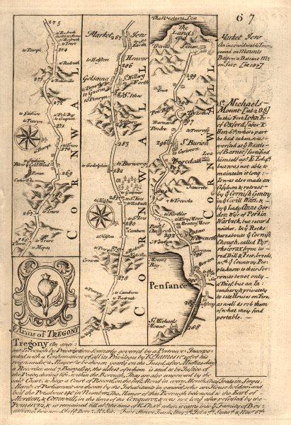 Associate Product Marazion-Penzance-St Buryan-Lands End road map by J. OWEN & E. BOWEN 1753