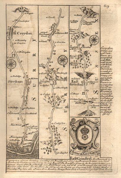 Associate Product London-Southwark-Streatham-Croydon-East Grinstead road map by OWEN & BOWEN 1753