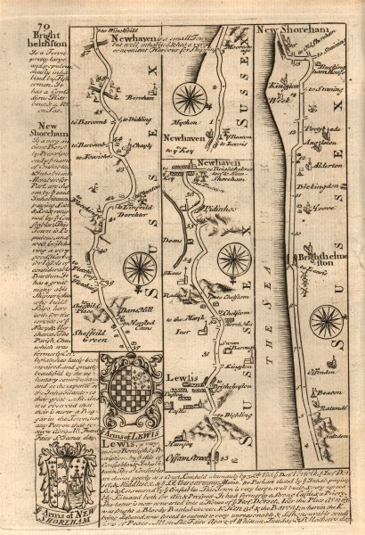 Associate Product Newhaven-Lewes-Brighton-Shoreham by Sea road map by J. OWEN & E. BOWEN 1753