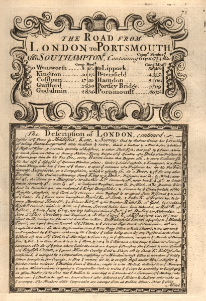 Road from London to Portsmouth com Southampton. Description of London contd 1753