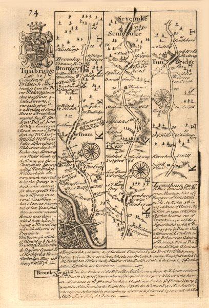 Associate Product London-New Cross-Lewisham-Bromley-Sevenoaks-Tonbridge OWEN/BOWEN road map 1753