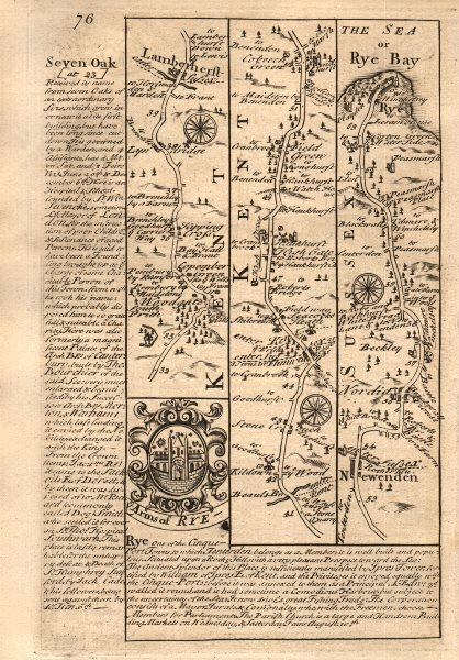 Associate Product Lamberhurst-Flimwell-Newenden-Beckley-Rye road map by J. OWEN & E. BOWEN 1753