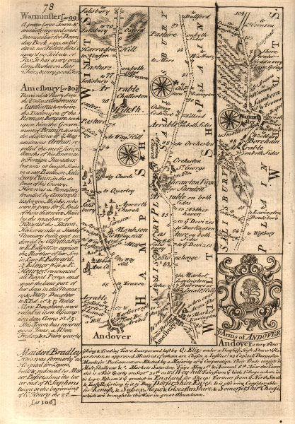 Associate Product Andover-Amesbury-Warminster road strip map by J. OWEN & E. BOWEN 1753 old