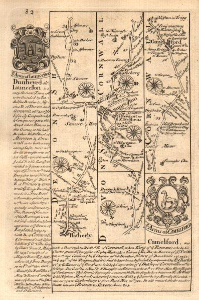 Hatherleigh-Launceston-Camelford road strip map by J. OWEN & E. BOWEN 1753