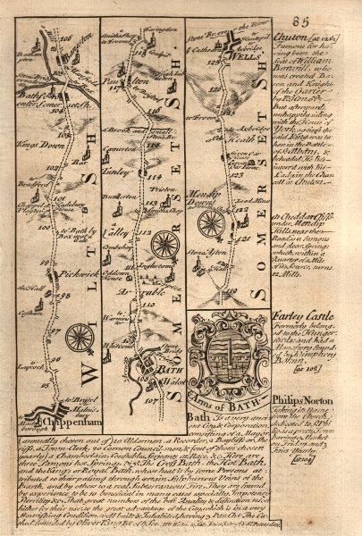 Associate Product Chippenham-Bath-Paulton-Wells road strip map by J. OWEN & E. BOWEN 1753
