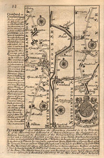 Associate Product Stilton-Peterborough-Crowland-Spalding-Surfleet road map by OWEN & BOWEN 1753