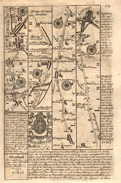 Associate Product Kirton-Boston-Swineshead-Sleaford-Lincoln road map by J. OWEN & E. BOWEN 1753