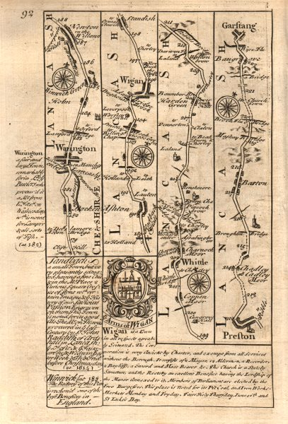 Associate Product Warrington-Wigan-Whittle-Preston-Barton-Garstang road map by OWEN & BOWEN 1753