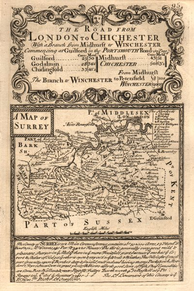 'A Map of Surrey'. County map by J. OWEN & E. BOWEN 1753 old antique chart