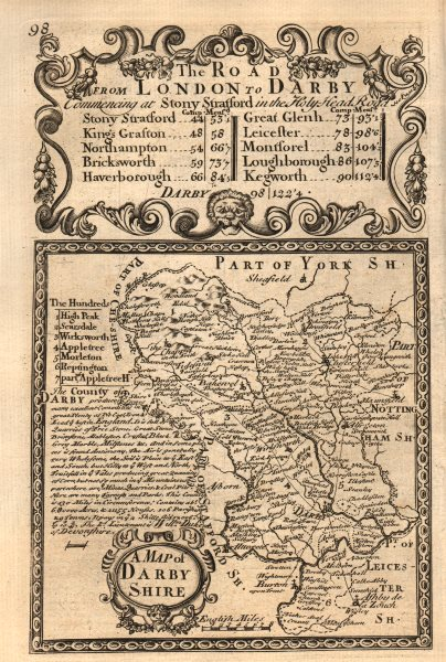 Associate Product 'A Map of Darby-Shire'. County map by J. OWEN & E. BOWEN. Darbyshire 1753