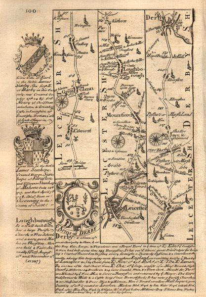 Associate Product Great Glen-Leicester-Loughborough-Kegworth-Derby road map by OWEN & BOWEN 1753
