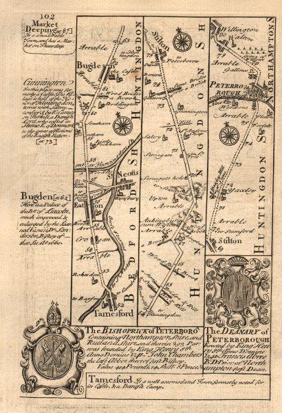 Associate Product Tempsford-Eaton-St Neots-Stilton-Peterborough road map by OWEN & BOWEN 1753