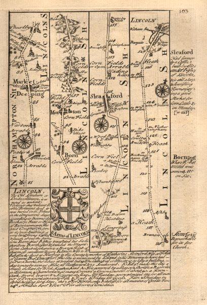 Associate Product Market Deeping-Thurlby-Morton-Sleaford-Lincoln road map by OWEN & BOWEN 1753