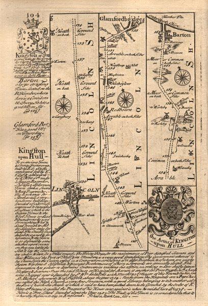 Associate Product Lincoln-Redbourne-Hibaldstow-Barton upon Humber OWEN/BOWEN road map 1753