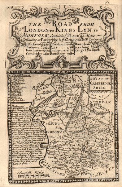 Associate Product 'A Map of Cambridge-Shire'. County map by OWEN & BOWEN. Cambridgeshire 1753