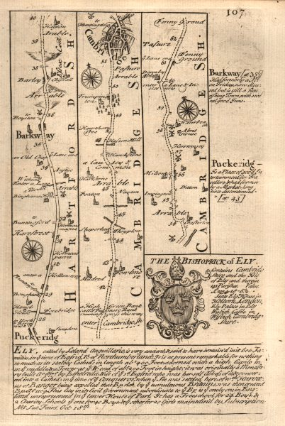 Associate Product Puckeridge-Barkway-Fowlmere-Cambridge road map by J. OWEN & E. BOWEN 1753