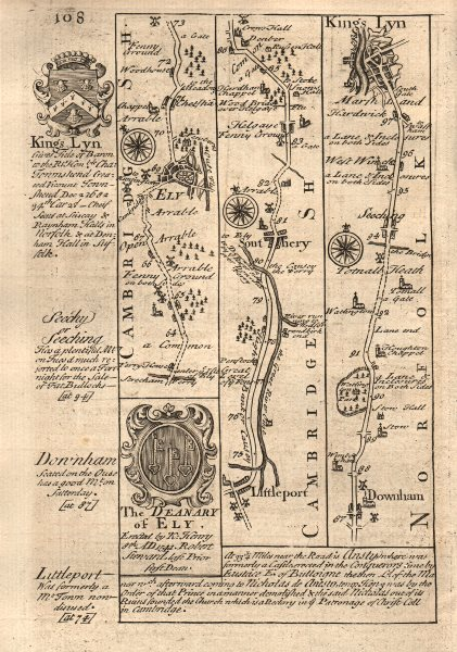 Associate Product Ely-Littleport-Southery-Downham Market-King's Lynn OWEN/BOWEN road map 1753