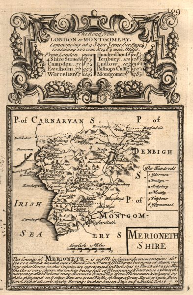 Associate Product 'Merioneth-Shire'. County map by J. OWEN & E. BOWEN. Merionethshire 1753