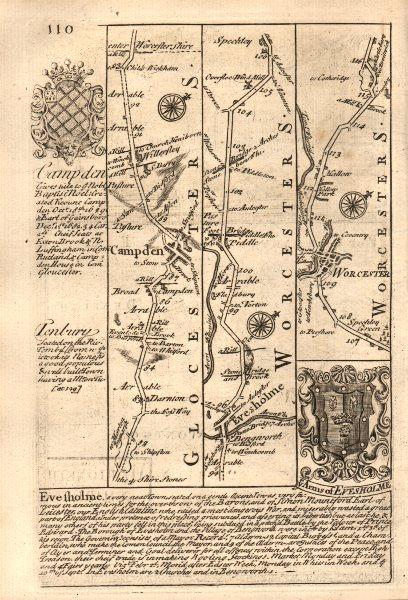 Associate Product Chipping Campden-Willersey-Evesham-Worcester road map by OWEN & BOWEN 1753