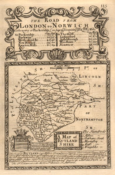 Associate Product 'A Map of Rutland-Shire'. County map by J. OWEN & E. BOWEN. Rutlandshire 1753