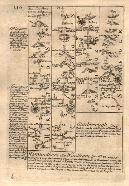 Associate Product Puckeridge-Barkway-Barley-Newmarket-Barton Mills road map by OWEN & BOWEN 1753