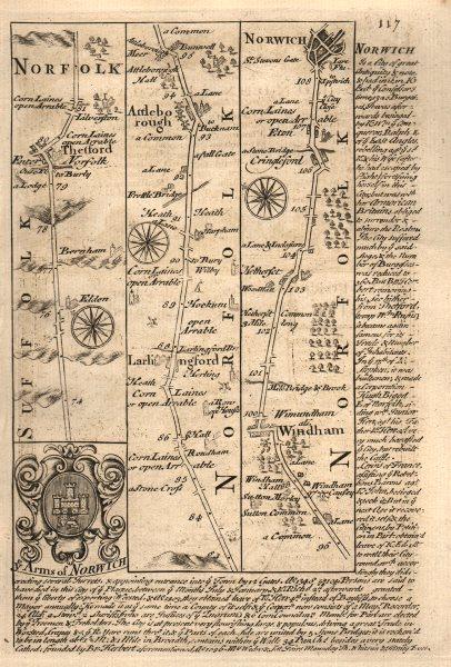 Associate Product Thetford-Larling-Attleborough-Wymondham-Norwich road map by OWEN & BOWEN 1753