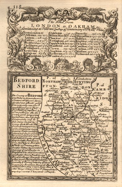 Associate Product 'Bedford-Shire'. County map by J. OWEN & E. BOWEN. Bedfordshire 1753 old