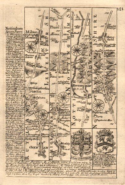 Associate Product Oakham-Melton Mowbray-Plumtree-Nottingham-Mansfield OWEN/BOWEN road map 1753