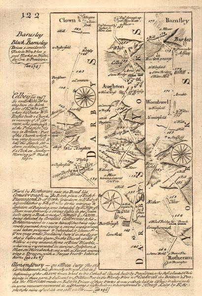 Associate Product Pleasley-Clowne-Aughton-Rotherham-Barnsley road map by OWEN & BOWEN 1753