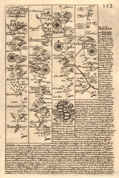 Associate Product Barnsley-Kirkburton-Halifax-Skipton road strip map by J. OWEN & E. BOWEN 1753
