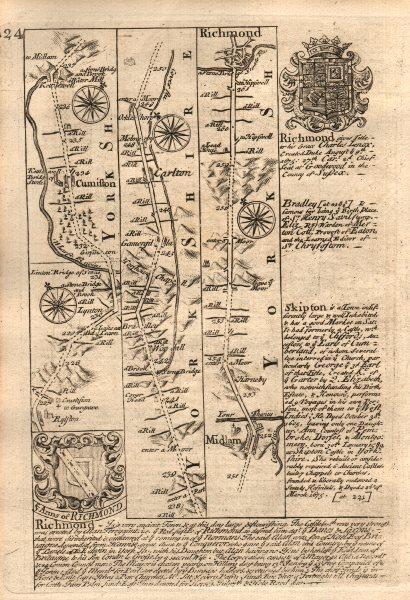 Associate Product Kettlewell-Middleham-Richmond road strip map by J. OWEN & E. BOWEN 1753
