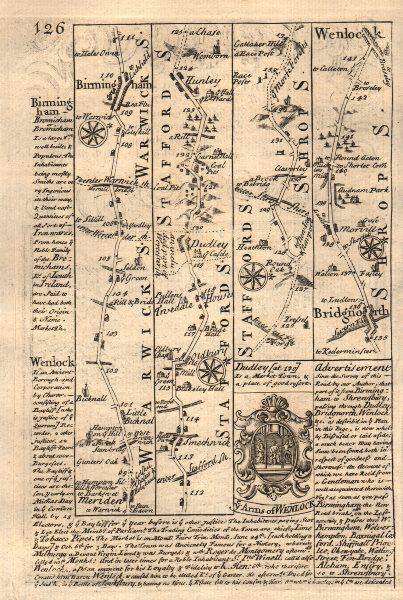 Associate Product Meriden-Birmingham-Dudley-Bridgnorth-Much Wenlock road map by OWEN & BOWEN 1753