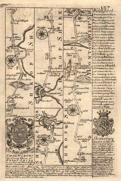 Associate Product Harley-Shrewsbury-Welshpool road strip map by J. OWEN & E. BOWEN 1753 old