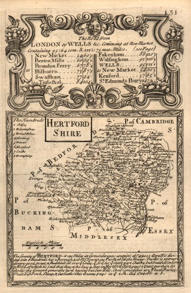 'Hertford-Shire'. County map by J. OWEN & E. BOWEN. Hertfordshire 1753 old