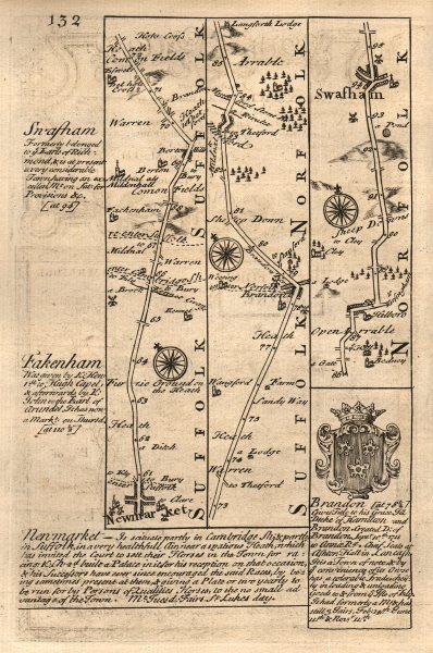 Associate Product Newmarket-Barton Mills-Brandon-Swaffham road map by J. OWEN & E. BOWEN 1753