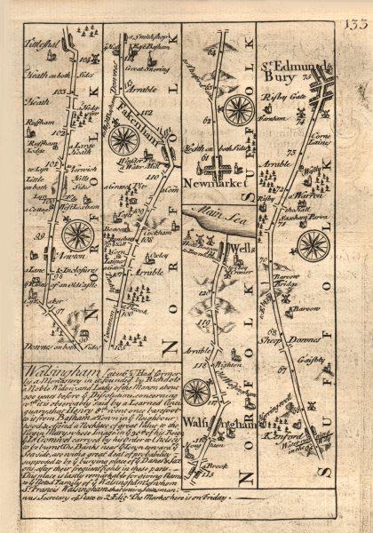 Associate Product Fakenham-Walsingham-Wells next the Sea-Bury St Edmunds OWEN/BOWEN road map 1753