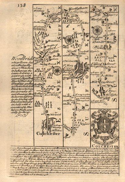 Associate Product Colchester-Ipswich-Martlesham-Woodbridge-Wickham Market OWEN/BOWEN road map 1753